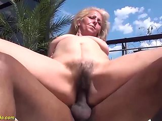 Ugly hairy bush 72 years old grandma with saggy tits enjoys her big black cock fucking