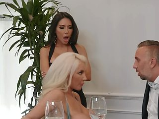 Hot pretty brunette and blonde suck and fuck together
