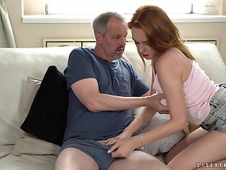 Red haired beauty Candy Red is craving for old dick of her step uncle