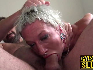 Skinny submissive slut choked and fucked with a fat shaft