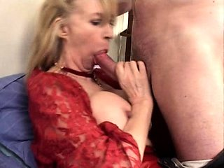 Bodacious blonde cougar has a young stud banging her holes