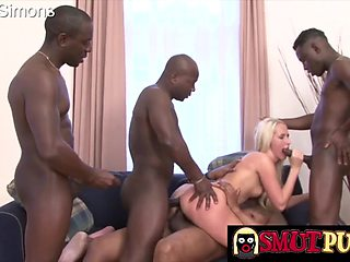 Horny blonde sluts enjoy getting fucked in all three holes by a bunch of black dicks