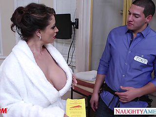 Dangerously seductive housewife Eva Notty fucks a plumber in the bathroom
