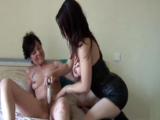 Naughty french mom cougar fucked and plugged by boy n girl