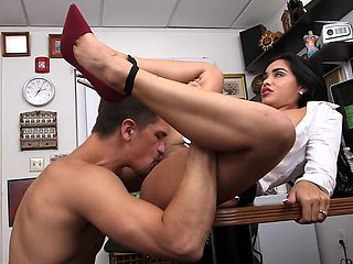 Sexy Latina gets naked in the office and gets her pussy licked