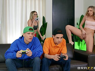 Gamer boys end up fucking some fresh pussy