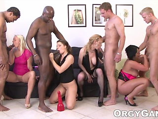 Porn actresses are pros at blowjobs in this exciting orgy