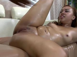 Oiled up beauty got slammed hard