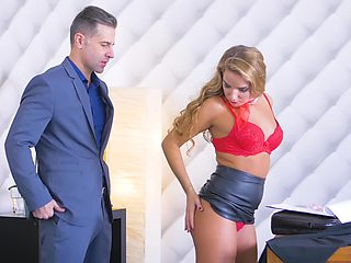 Sexy uniform of new employee makes boss fuck her immediately