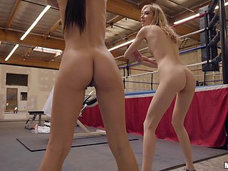 Lesbians Milana Ricci and Mackenzie Moss having sex at the gym