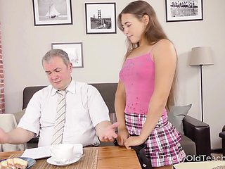 Cute student Mara Gri gets her pussy fucked by kinky old teacher