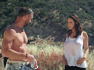 Outdoor fucking on the mountain with big natural tits Ashley Adams