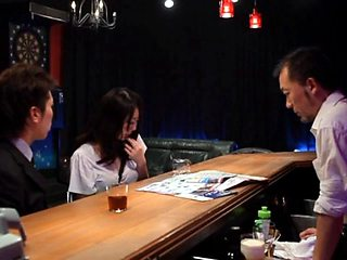 Guys at the bar undress and fuck a big tits Japanese chick