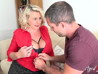 Busty blonde british mature with huge natural tits enjoying hard rough sex with handy stud