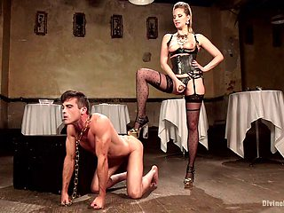 Dude who loves to be dominated on gets penetrated by a strapon