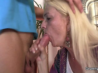 Blonde skinny granny enjoys riding his big dick