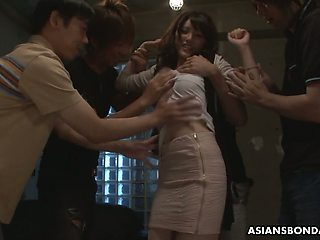 Several students fuck Japanese coed Kanako Iioka and fill her snatch with cum