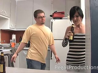 Skinny darling Lilith Dark turns around to be fucked in the kitchen