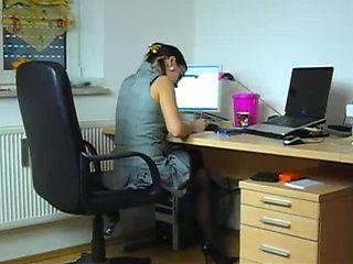 Homemade clip of office slut fucking