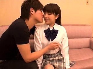 Adorable Japanese schoolgirl gets drilled by a group of guys