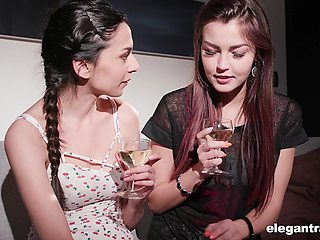 Skinny lesbians Cindy Shine and Ashley Ocean get nauhgty on video
