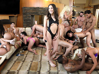 Aaliyah Hadid & Abella Danger & Ashley Adams & Bridgette B & Gina Valentina & Karma Rx & Katrina Jade & Kira Noir & Kissa Sins & Lela Star in Brazzers House 3: Episode 3 - BRAZZERS