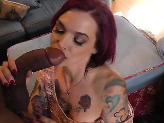 Anna Bell Peaks sucks monster cock at Cuckold Sessions