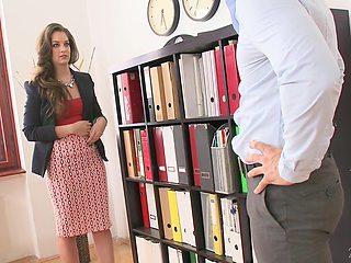 Fucking awesome boobs of new secretary Karina Grand needs to be jizzed