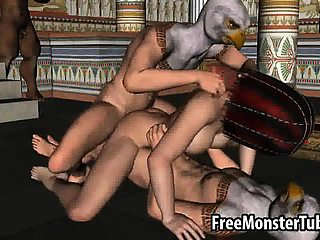 Hot 3D cartoon egyptian babe gets double teamed