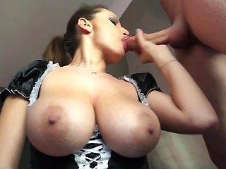 Maid with natural breasts drilled in kitchen by naughty master