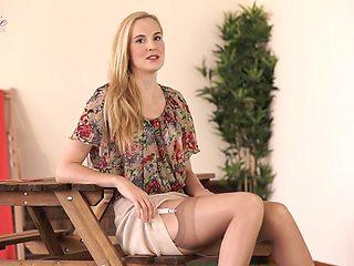 Quite leggy blonde slut Ariel Anderssen loves posing in her sexy lingerie