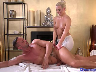 Blonde masseuse promises the man the time of his life