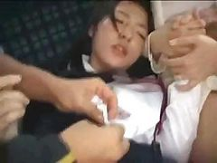 Asian mom and daughter are fucked on a public bus by crazed man