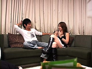 Ravishing Asian girl in lingerie goes wild for a stiff cock