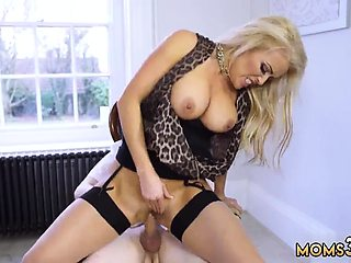 Mom stuck in kitchen and get fuck by boss' compeer horny