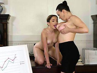 Jane Wilde fucked by busty boss Dana Dearmond in her office