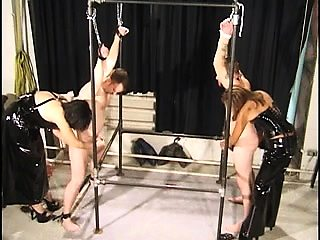 Two helpless amateur boys getting punished by dominant babes