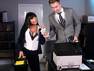 Stuck In The Copier Free Video With Valentina Ricci - BRAZZERS