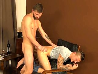 Muscle gay dp with creampie