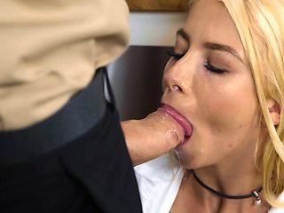 Blonde MILF is sucking off her big bald lover in the kitchen