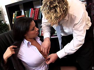 Two office babes gets fucked mercilessly by their coworker
