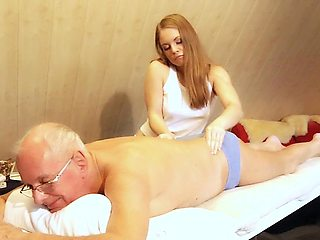 Old man fucks young blonde masseuse cums in her mouth
