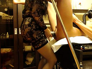 Kinky guy has a dominant lady in stockings plowing his ass