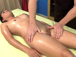 Thai girl oiled up and massaged in tight pussy