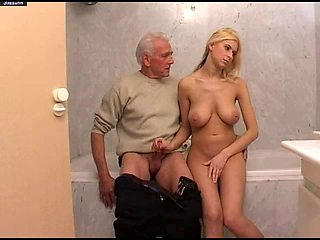 Grandpa fucking his cute busty granddaughter in bathroom