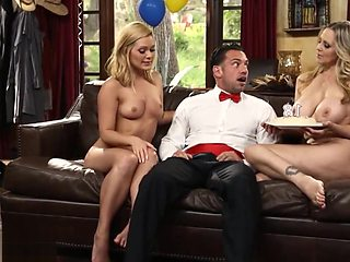 THREESOME WITH TWO HOT MILFS IN HIS BIRTHDAY