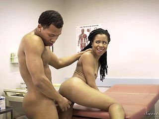 Brunette is horny as fuck with dudes ram rod deep inside her dripping wet cunt in this interracial sex action