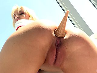 Anal loving slut Kenzie Reeves plays with a dildo and takes a dick