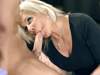 Busty blonde housewife Payton Hall feels good during steamy doggy fuck