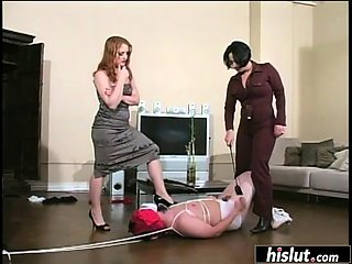 Lucky guy gets dominated by two naughty chicks